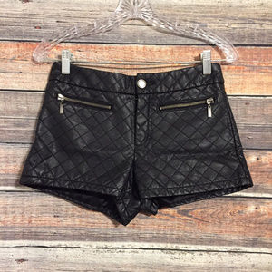 Forever 21 black quilted faux leather shorts